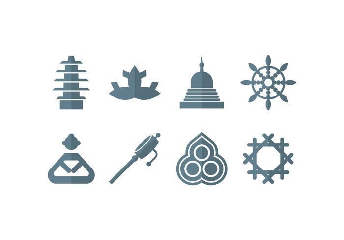 Meditation, Yoga, Zen, Buddha Set Icons vektor