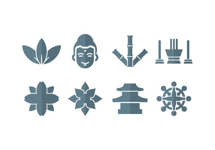 Meditation, yoga, zen, buddha-ikoner vektor