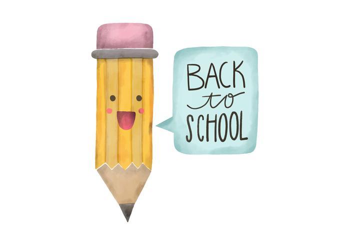 Tillbaka till skolan vattenfärg penna karaktär vektor