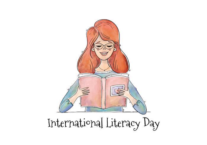 Vektor vattenfärg tjej läsning bok för läsning dag