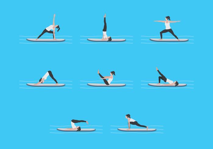 Yoga träning på paddleboard vektorer