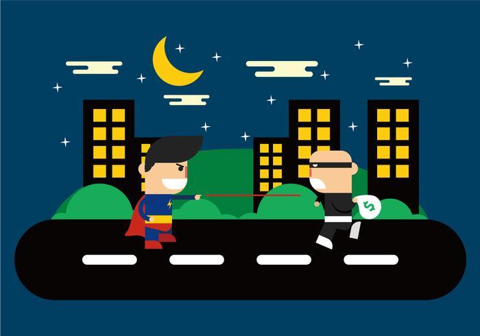 Superhjältar i stadsvektorn vektor