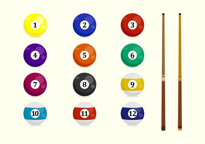 Billard Ball und Pool Stick Vektor