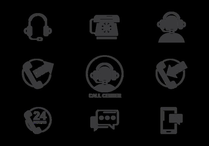 Call Center Ikoner Vector