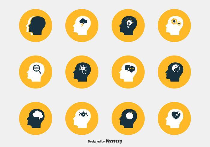 Psychologie Kopf Vektor Icons