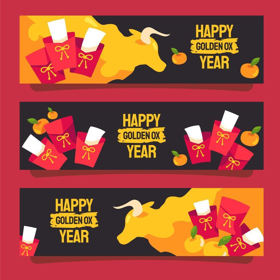 kinesiska nyåret gyllene ox banner vektor