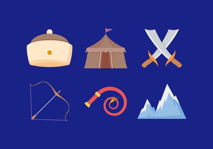Gratis utestående mongoliska krigarevektorer vektor