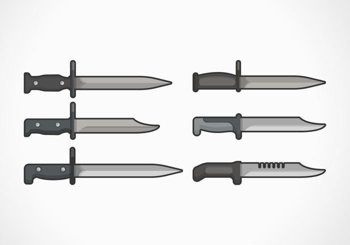 Bayonet platt vektor illustration samling
