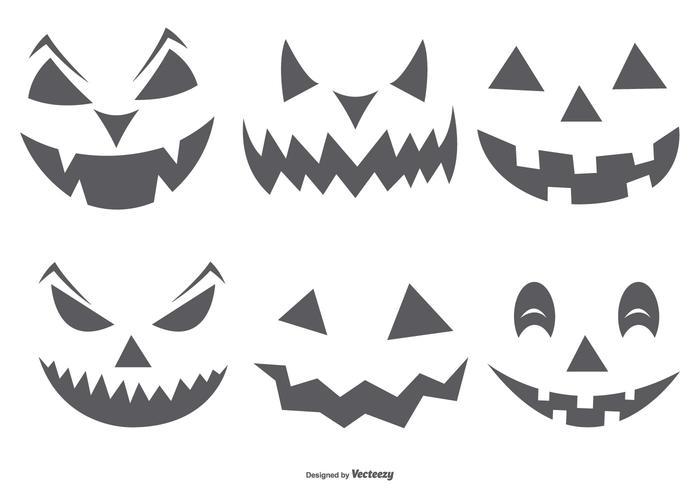 Söt Spöklik Halloween Pumpa Faces vektor