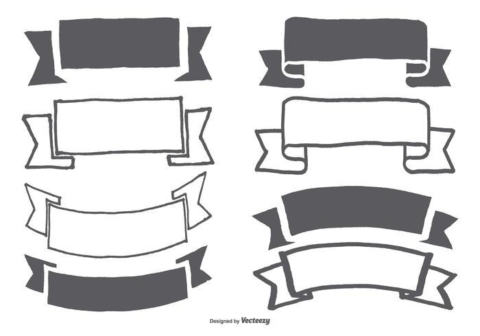 Handdragen banderoll / Ribbon Collection vektor
