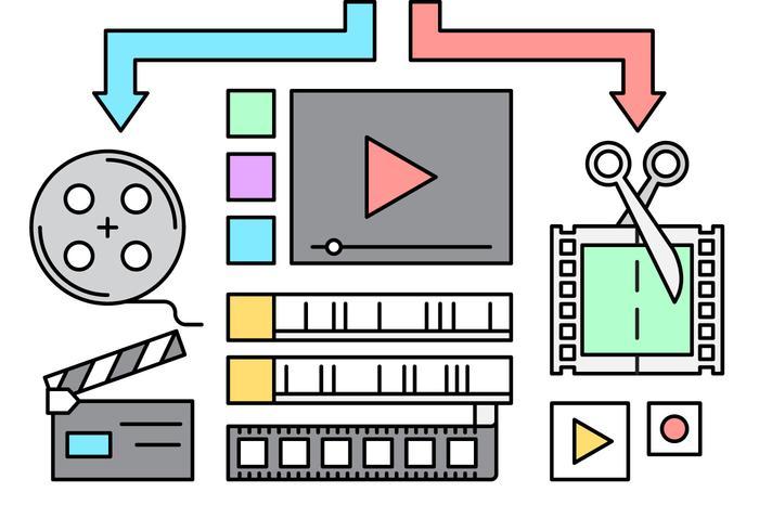 free video edit icons vektor