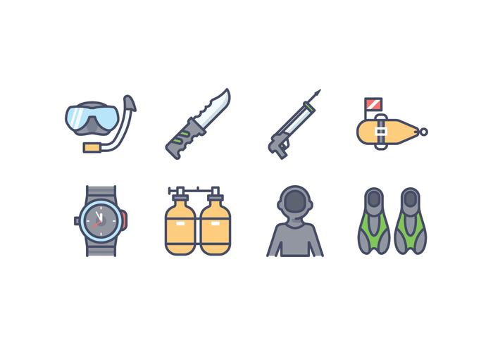Spearfishing Ausrüstung Vector Icons