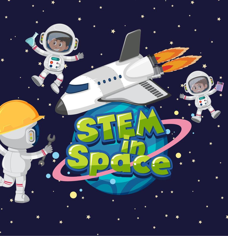 Stamm im Weltraum Logo und Astronaut im Weltraum Hintergrund vektor
