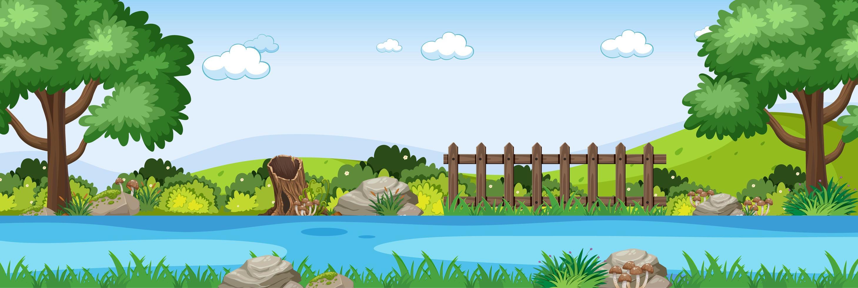 flodplats i parkens horisontella scen vektor