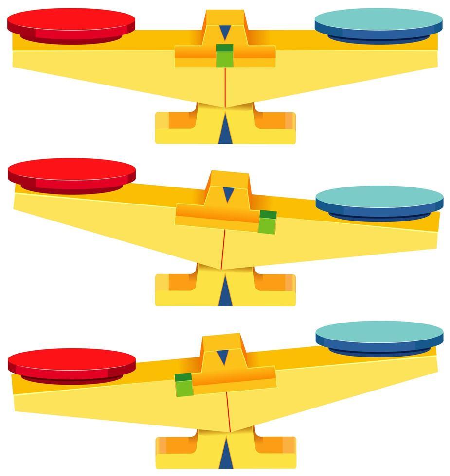 uppsättning tomma balansvågar isolerad på vit bakgrund vektor
