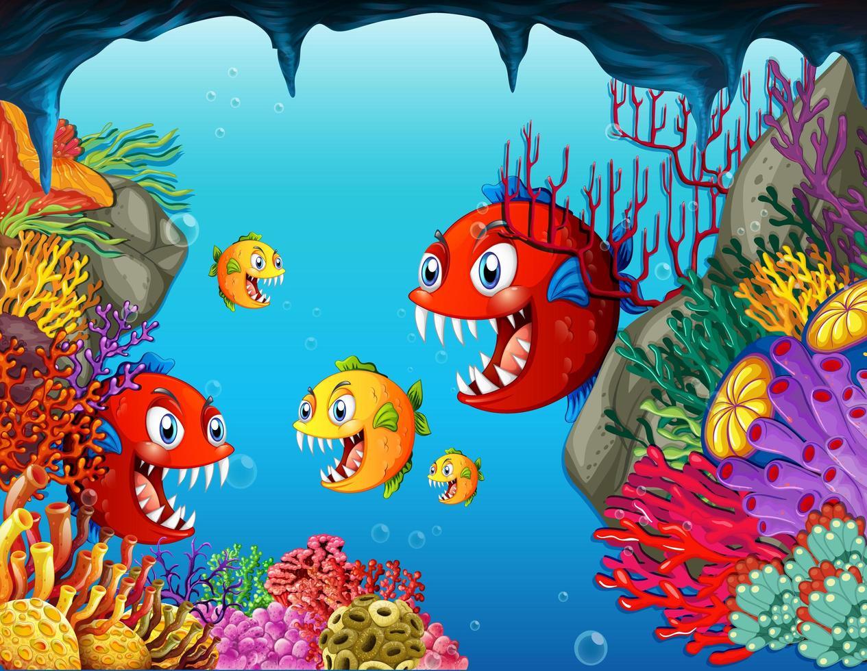 många exotiska fiskar seriefigur i undervattensbakgrunden vektor