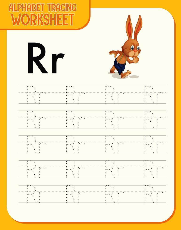 Arbeitsblatt zur Alphabetverfolgung mit den Buchstaben r und r vektor