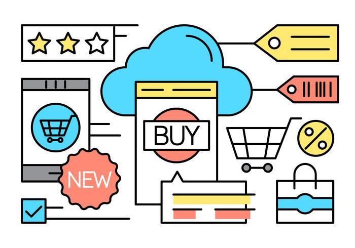 Kostenlose Online Shopping Icons vektor