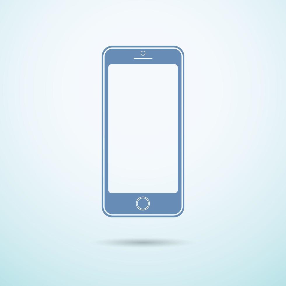 ny smartphone platt ikon på blå bakgrund vektor