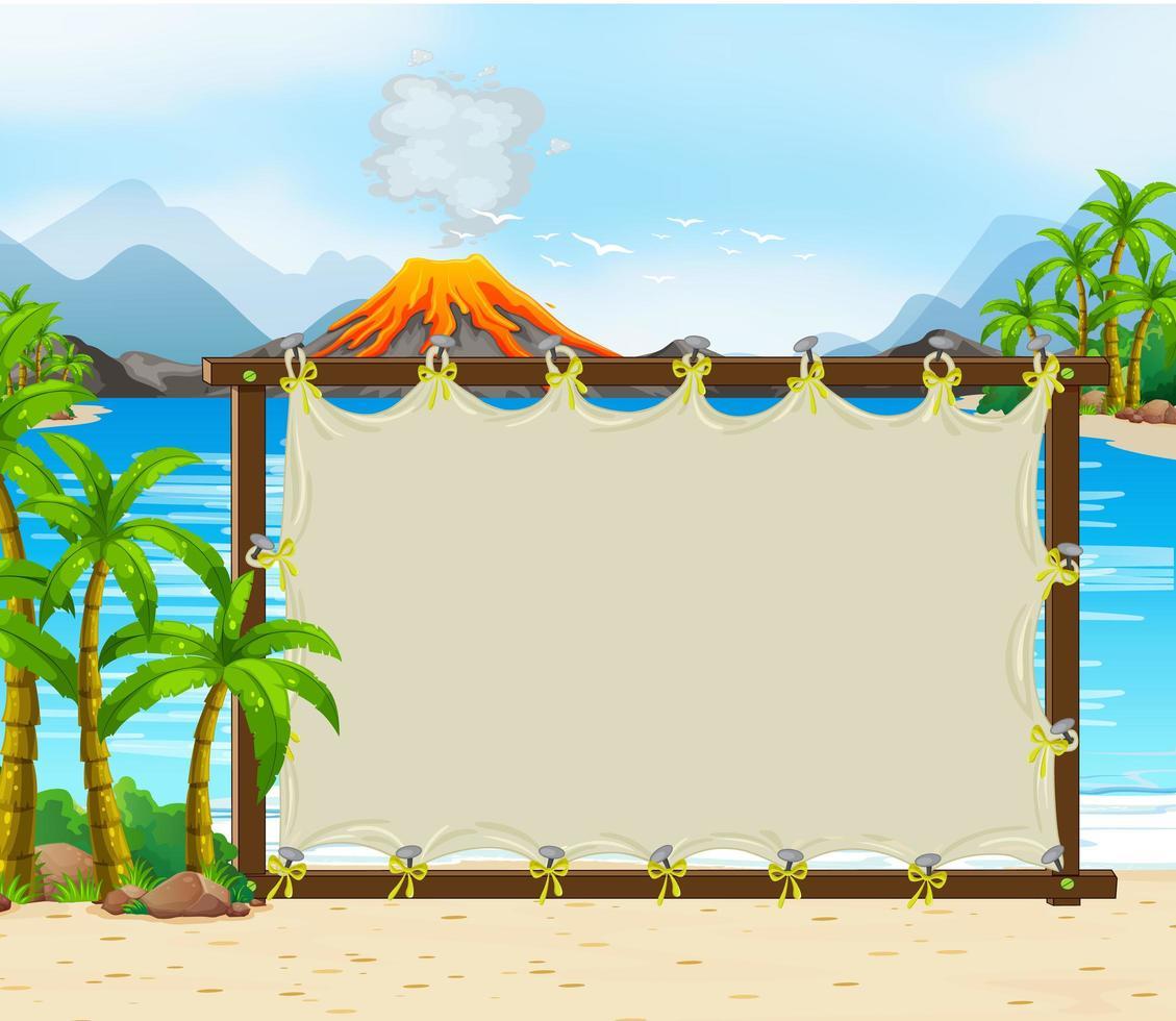 tomt banner på förhistorisk scenbakgrund vektor