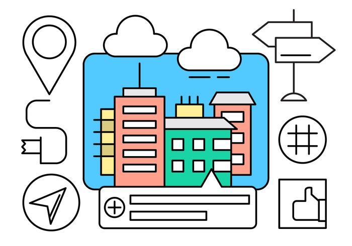 Navigation in der Stadt Icons vektor