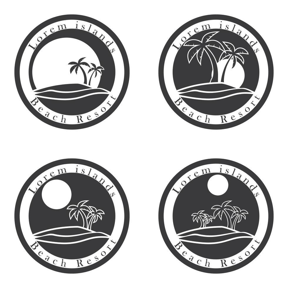palmer och sol, badort logotyp vektor