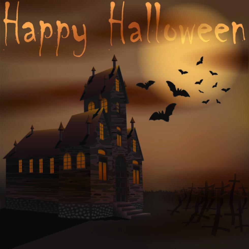 Halloween gruseliges Haus mit Fledermäusen in der Nähe von Friedhof vektor