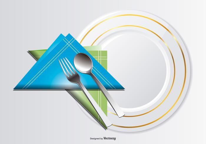 Plate, Sked, Gaffel och Serviette Illustration vektor