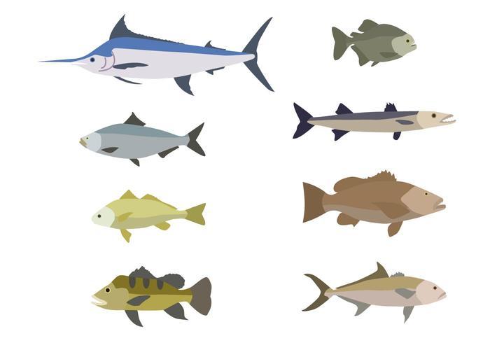 Plana fiskvektorer vektor