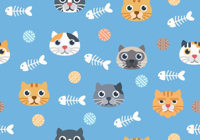 Sömlös söt kattmönster på blå bakgrund vektor