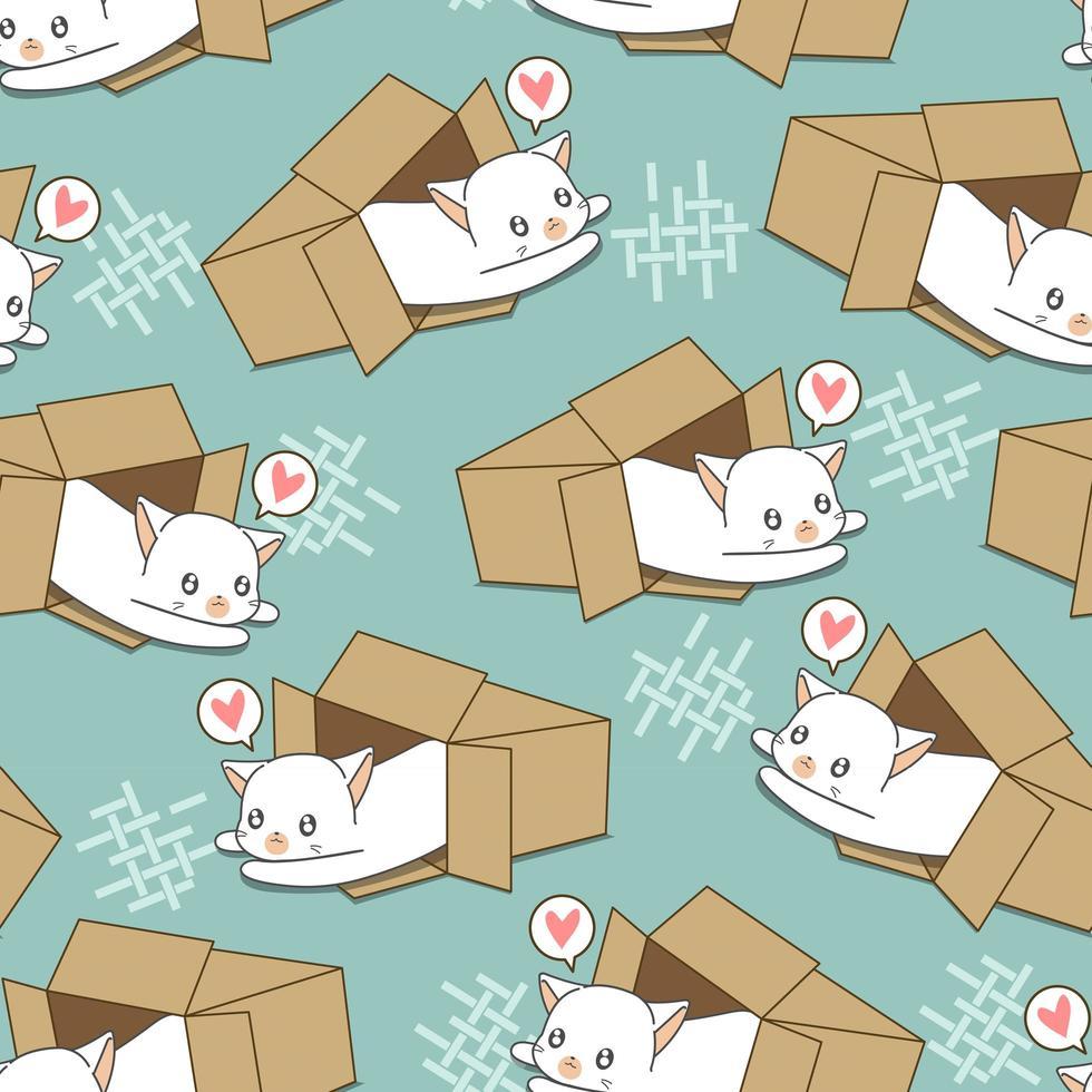 nahtlose weiße Katze im Kastenmuster vektor