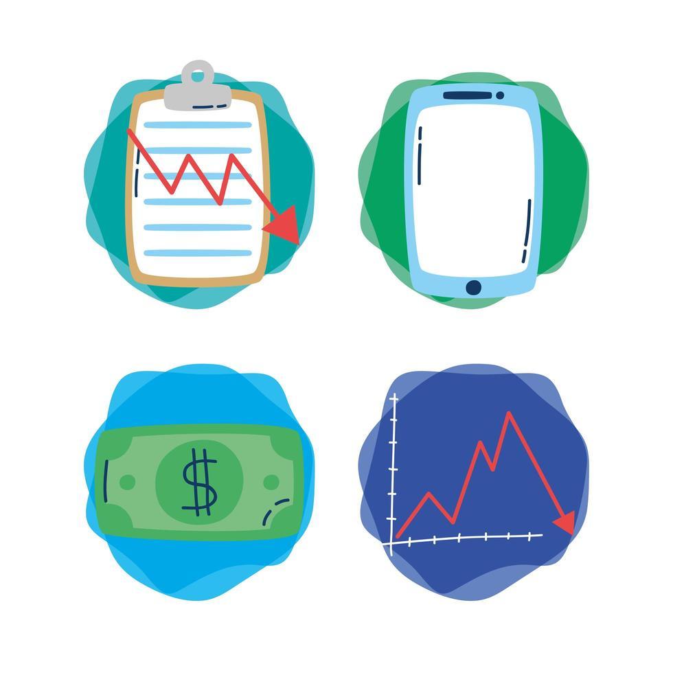paket av ekonomi och finans ikoner vektor