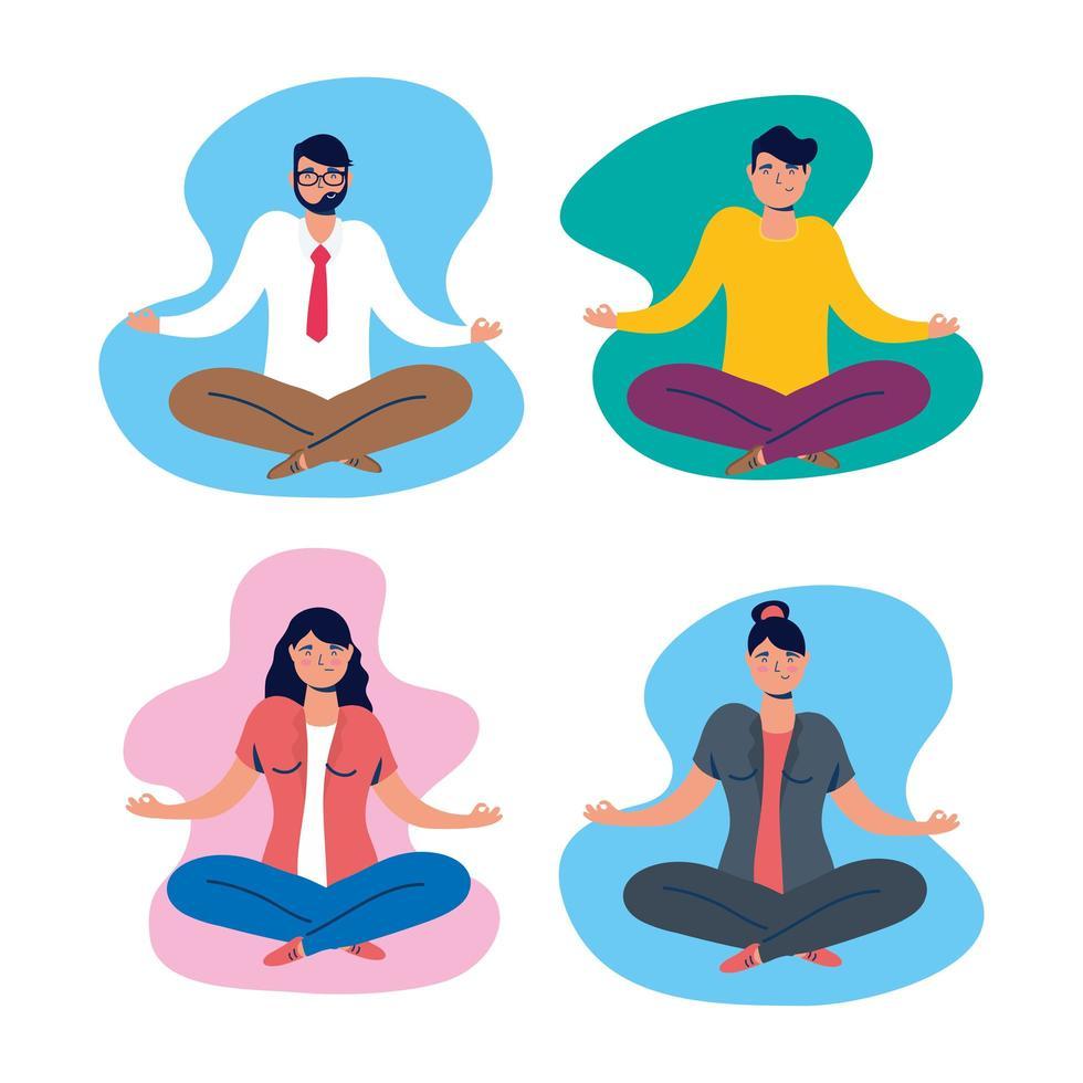 grupp människor som tränar yoga i lotusställning vektor