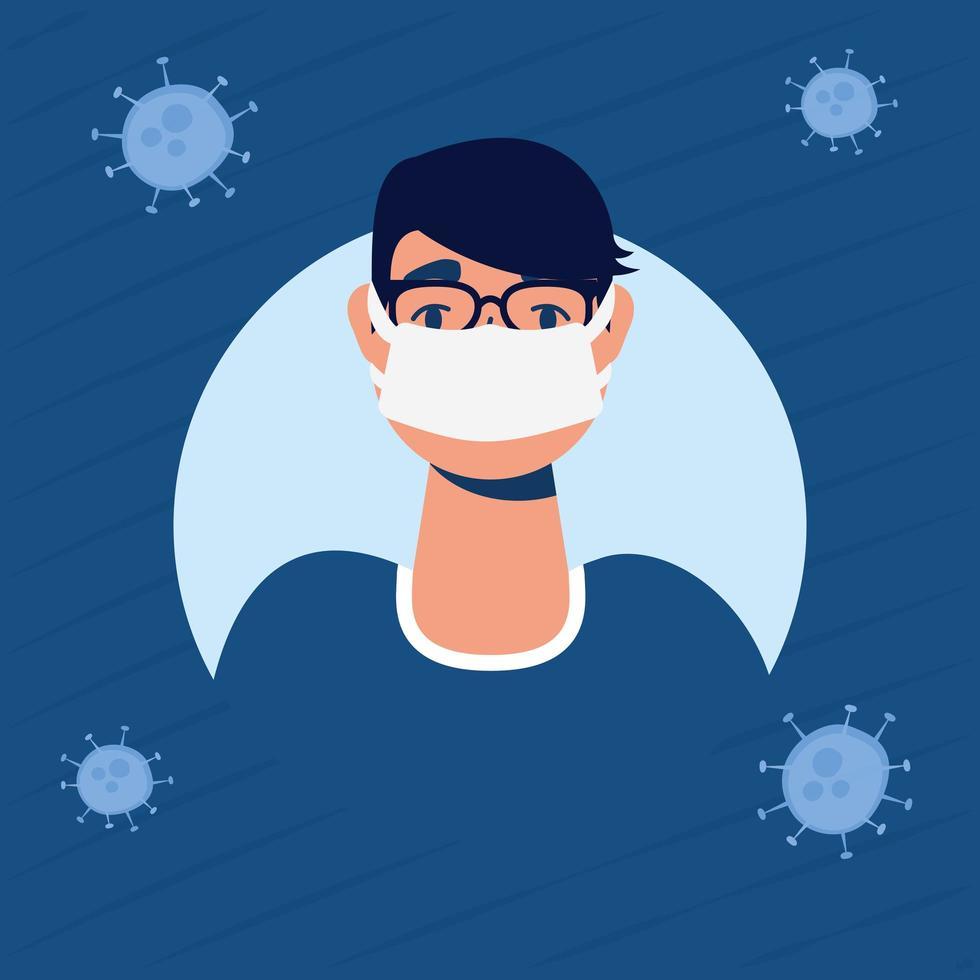 sjuk man med ansiktsmask karaktär vektor