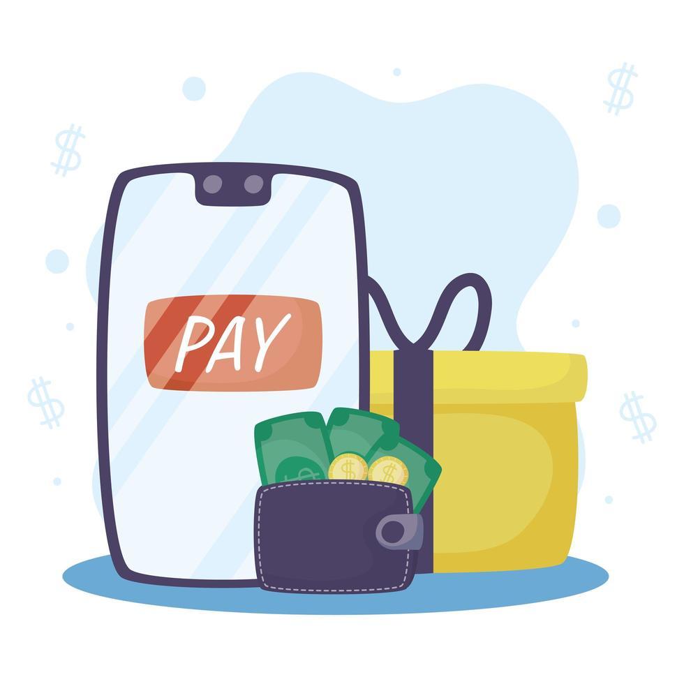 online betalningsteknik med smartphone vektor