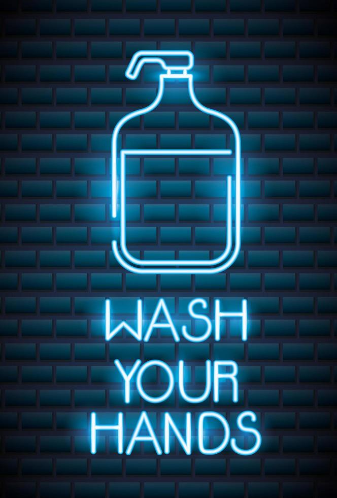 Waschen Sie Ihre Hände, Coronavirus Leuchtreklame vektor