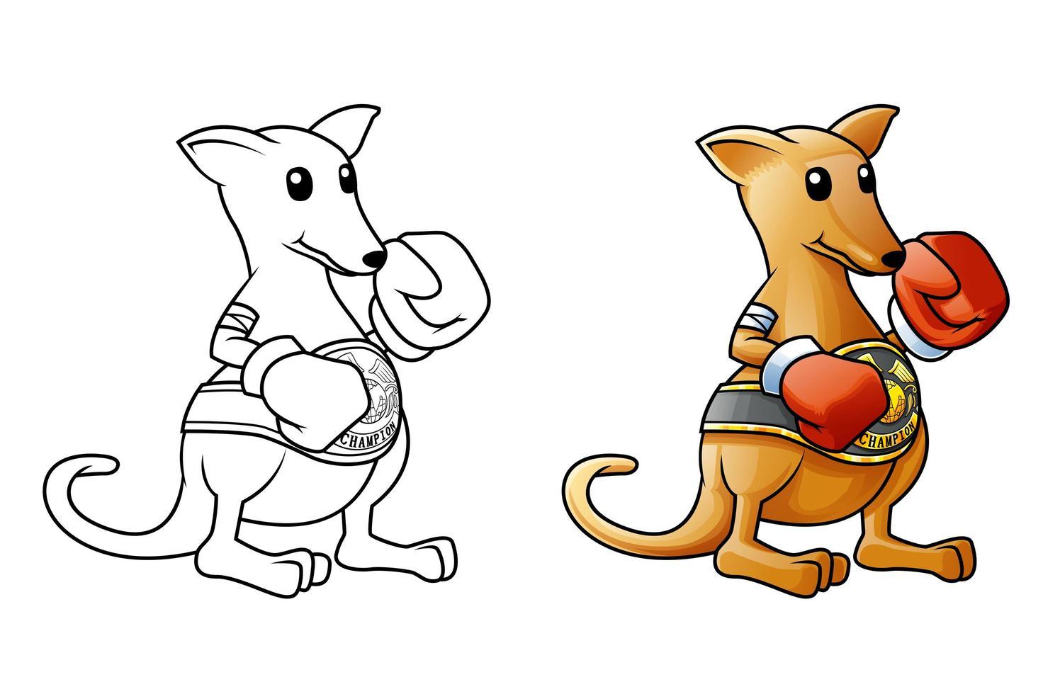 känguru tecknad målarbok för barn vektor