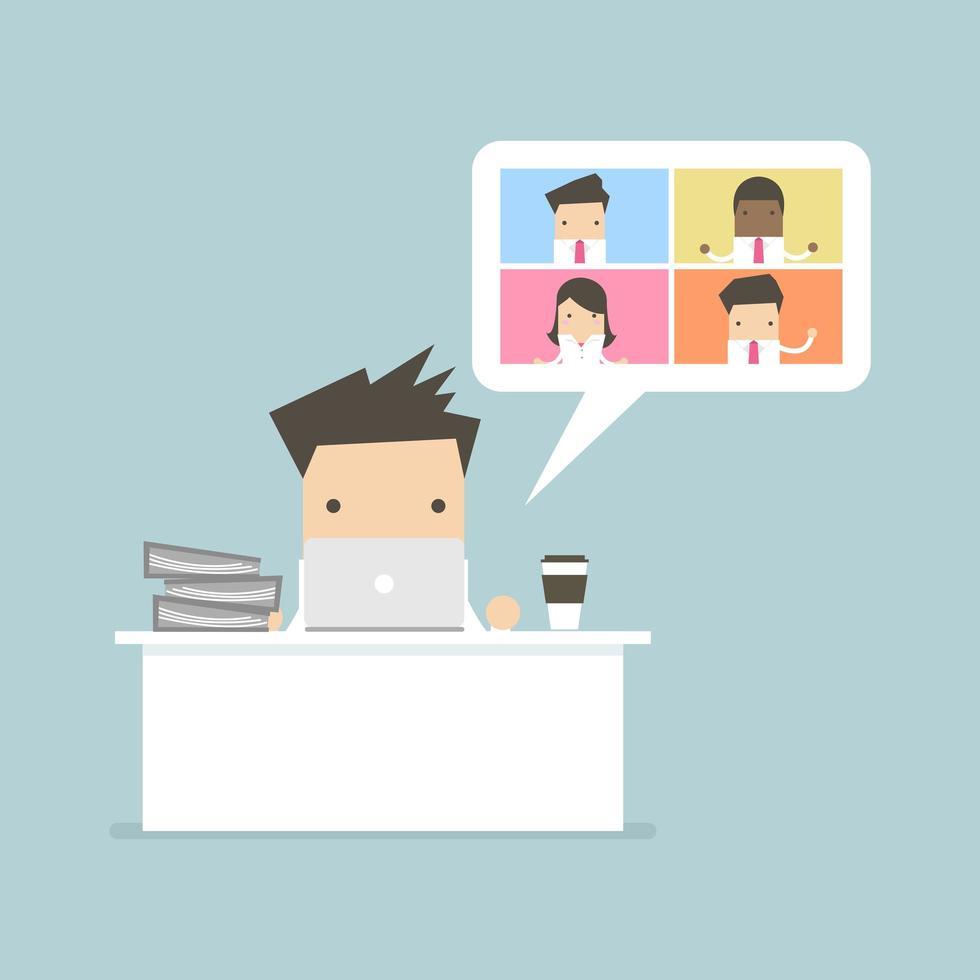 affärsman som arbetar med affärsmöte för videokonferens vektor
