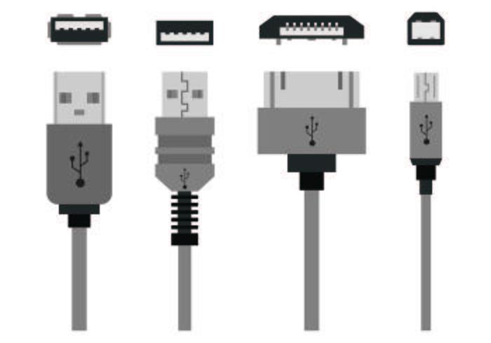 Set von USB-Port-Icons vektor