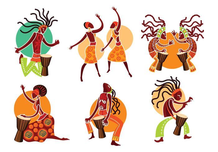 Exotische Frau und Mann spielen Djembe oder afrikanische Musik vektor
