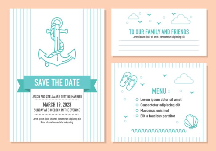 Strand-Hochzeits-Einladungs-Karten-Vektor vektor