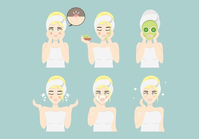 Pickel und Gesichts-Haut Probleme Illustration Vektor