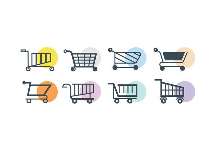 Supermarket vagn vektor ikon