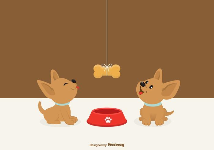 Chihuahua Welpen Blick auf einen hängenden Hund Biskuit vektor