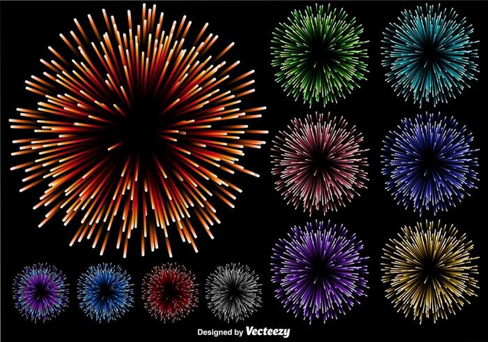 Vektor uppsättning av mångfärgad fyrverkeri illustration på svart bakgrund