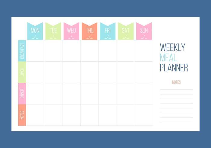 Kostenlose einzigartige wöchentliche Kalender-Vektoren vektor