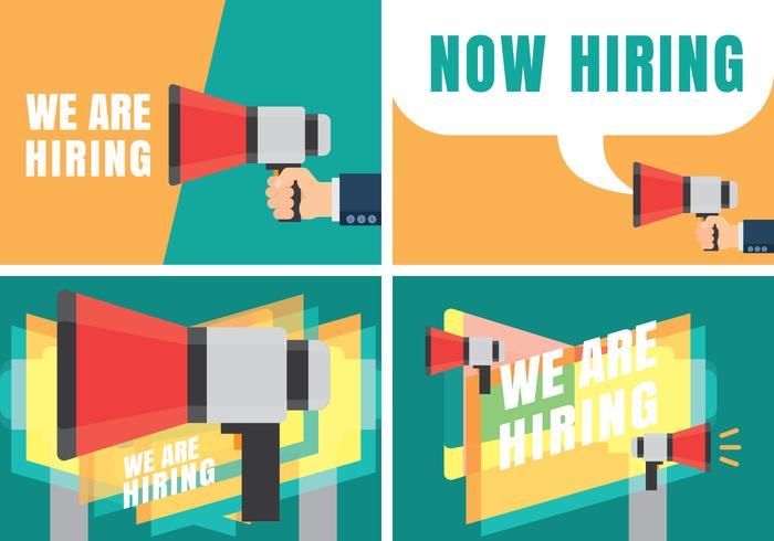Vi är anställningsvillkor Öppet rekryteringsmeddelande vektor