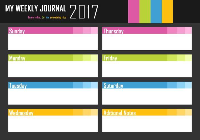 Mein wöchentliches Journal Free Vector