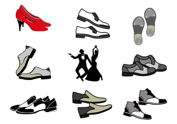 Kostenlose Tap Schuhe mit tanzenden Menschen Vektor