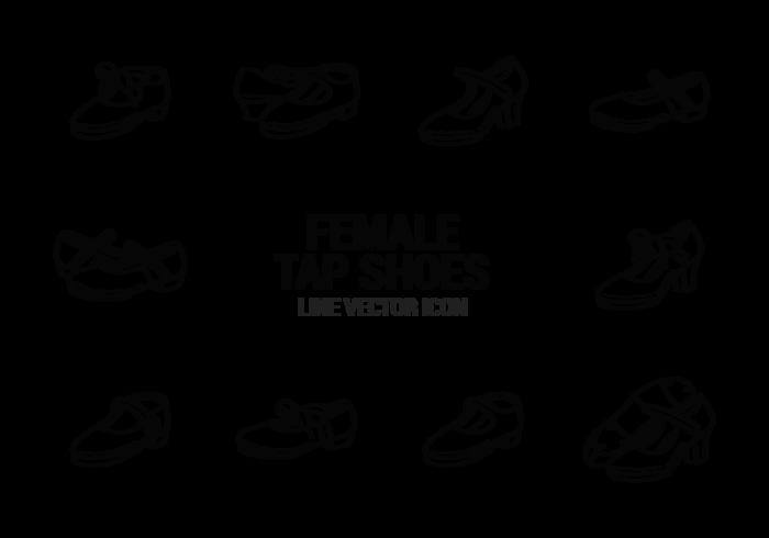 Weibliche Tippen Schuhe Icons Vektor